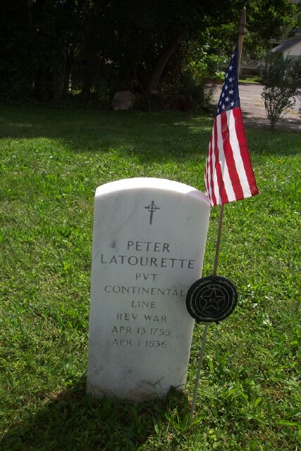 Peter Latourette identified as Revolutionary War veteran.